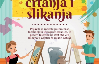 """Škola crtanja i slikanja u Centru za mlade """"BaUM"""""""